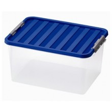 HEIDRUN Box úložný s víkem, 26 x 52 x 36,5 cm, 38 l, transparentní/modrá 1605