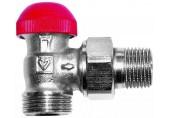 """HERZ TS-90-V-Termostatický ventil rohový 1/2"""", M 28 x 1,5 červená krytka 1773867"""
