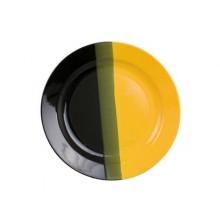 VETRO-PLUS Talíř mělký černo/žlutý 25cm 202140BYI
