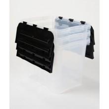 HEIDRUN úložné boxy s integrovaným víkem, set 3ks, transparentní/černá 31643