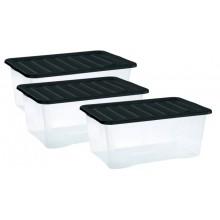 HEIDRUN QUASAR boxy úložné s víkem 3ks 18 l, černá 31682