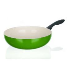 BANQUET Pánev WOK 28 cm zelená Natura Ceramia Verde 40JC28WCCGR