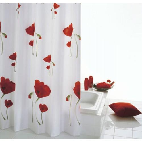 SAPHO MOHN sprchový závěs 180x200cm, červenobílá 47800