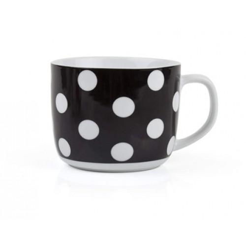 BANQUET polévkový hrnek černý s puntíky 60JG1726