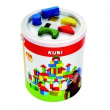 Bino Barevné kostky na hraní v kbelíku 100ks 690439