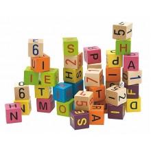 Woody Barevné kostky s písmeny a čísly, 40ks 695019
