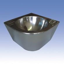 SANELA Nerezové antivandalové rohové umyvadlo SLUN 41M, pr. 320 mm, rovné 83416