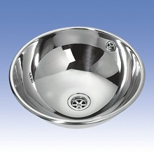 SANELA Nerezové zápustné umyvadlo SLUN 45 s přepadem, pr. 360 mm 93450