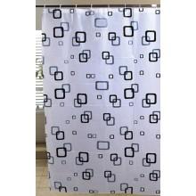 AQUALINE Sprchový závěs 180x180cm, bílá/modrá/černá ZV010