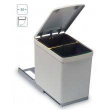 VÝPRODEJ ALVEUS Albio 10 odpadkový koš 2 x 7,5l PRASKLÝ PLAST VIZ FOTO, POŠKRÁBANÉ VÍKO