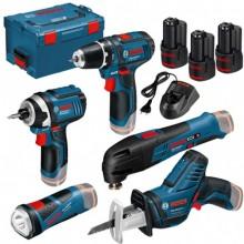 BOSCH 5 Tool Kit 12V: GOP 12V-28, GSR 12V-15, GDR 12V-105, GLI 12V-80, GSA 12V-14 + 3× 2,0Ah akumulátor v L-BOXXu 0615990K11