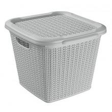 BRILANZ Box ratanový s víkem 15 l, 30 x 30 x 27,5 cm, šedý 43937503