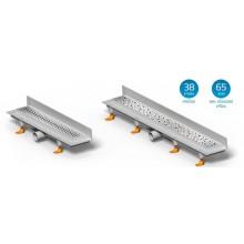 CHUDĚJ Lineární plastový žlab DROPS 450 mm ke stěně s roštem DROPS, lesk CH-450D2