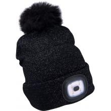 EXTOL LIGHT čepice s čelovkou 4x45lm, nabíjecí, USB, černá se třpytkou a bambulí 43196