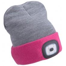 EXTOL LIGHT čepice s čelovkou 45lm, nabíjecí, USB, světle šedá/růžová, oboustranná, univerzální velikost 43197