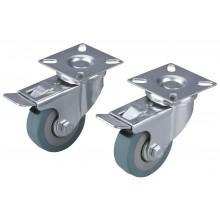 EXTOL PREMIUM kolečka otočná s obručí ze šedé pryže a brzdou, sada 2ks, průměr 50mm 8856025