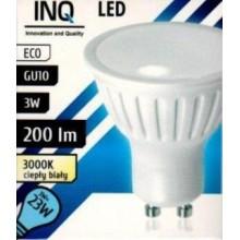 INQ LED žárovka, GU10 3W teplá bílá IN714319