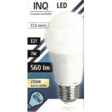 INQ LED žárovka, E27 7W A60, teplá bílá IN714562