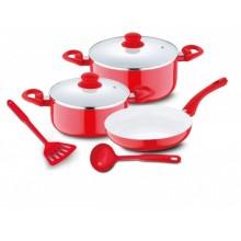 RENBERG Sada nádobí s keramickým povrchem 7 ks, červená RB-1196cerv