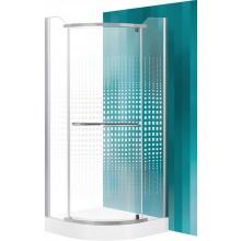 ROLTECHNIK Čtvrtkruhový sprchový kout s jednokřídlými otevíracími dveřmi AUSTIN/800 stříbro/potisk N0128