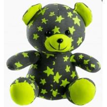 Medvídek svítící ve tmě 21cm šedý/žlutý plyš