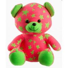 Medvídek svítící ve tmě 21cm ružový/zelený plyš