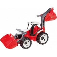 Traktor se lžící a bagrem plast červeno-bílý 65cm v krabici od 3 let