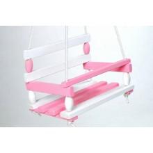 Houpačka dřevo, bílo-růžová, 38x30cm, nosnost 200kg