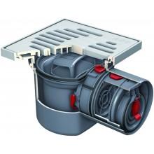 ACO Junior sklepní vpust DN 100 se zpětným uzávěrem, plastový rošt (ABS) 2130.00.77