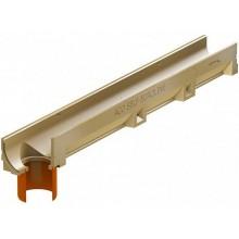 ACO EuroSelf žlab 1 m, H=9,7 cm, bez roštu s odtokem DN/OD 110 38501
