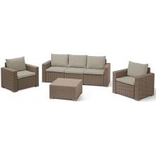 ALLIBERT CALIFORNIA 3 SEAT Set zahradní, cappuccino/písková 17198931