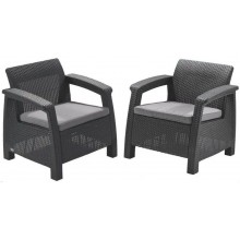 ALLIBERT CORFU DUO SET Křeslo 2 ks, 75 x 70 x 79cm, grafit/šedá 17197993