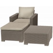 ALLIBERT MOOREA zahradní set (stůl, křeslo, taburet), ratan, cappuccino/písková 17200418