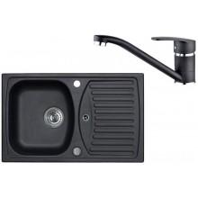 ALVEUS Set RECORD 30 dřez 780x480 mm + baterie NINA, černá
