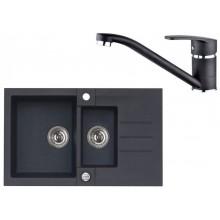 ALVEUS Set ROCK 70 dřez 780x480 mm + baterie NINA, černá