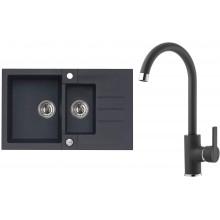 ALVEUS Set ROCK 70 dřez 780x480 mm + baterie TONIA, černá