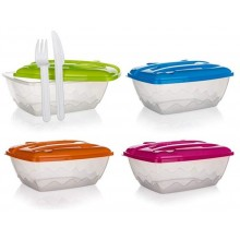BANQUET Sada jídelní plastová 2,1 l, 3 ks, box a plastový příbor 557873-O