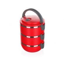 VÝPRODEJ BANQUET Jídlonosič plastový CULINARIA Red 2,1l, 3 díly 48220021, PRASKLÉ ZAVÍRÁNÍ