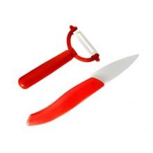 Keramický nůž 7,6cm a škrabka 2d sada Apetit, červená 25CK092DR