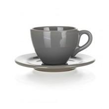 BANQUET AMANDE Šálek s podšálkem, keramika 200 ml, šedá lesklá 20505L2892