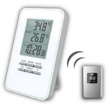 Bezdrátový teploměr, teplota, čas, budík - bílý TE44