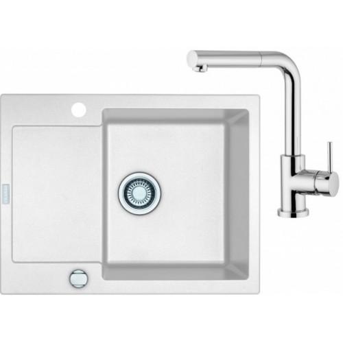 Franke SET G8 granitový dřez MRG 611-62 bílá led + baterie FN 0147 chrom 114.0120.346