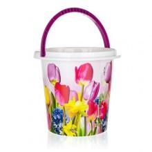 BRILANZ Kbelík plastový 10 L, tulipány, 29x27,5 cm 43IML10LTLPBR