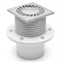 Podlahová vpusť DN 110 (PV110N-PR2) nerez 122x122 mm, s přírubou 421
