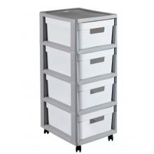 CURVER INFINITY 4x11L rozkládací regál se šuplíky 36x30x66cm bílá/šedá 02060-Y36