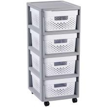 CURVER INFINITY 4x11L rozkládací regál se šuplíky 36x30x66cm bílá/šedá 02064-Y36
