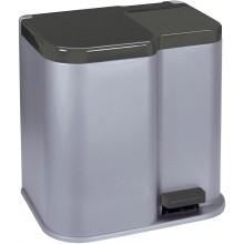 CURVER DUO 21L odpadkový koš 30x39,5x40cm stříbrný 04027-491