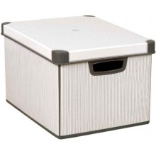VÝPRODEJ CURVER box úložný dekorativní Classico, 39,5 x 29,5 x 25 cm, 25 l, šedá/bílá, R__04711-D41 BEZ VÍKA