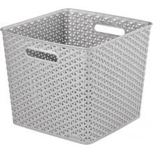 CURVER úložný box RATTAN MY STYLE Square, 32,5 x 33,5 x 28 cm, stříbrný, 03613-087