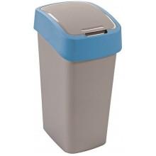 CURVER Flipbin odpadkový koš, 35 x 23,5 x 18,9 cm,10 l, stříbrná/modrá, 02170-734